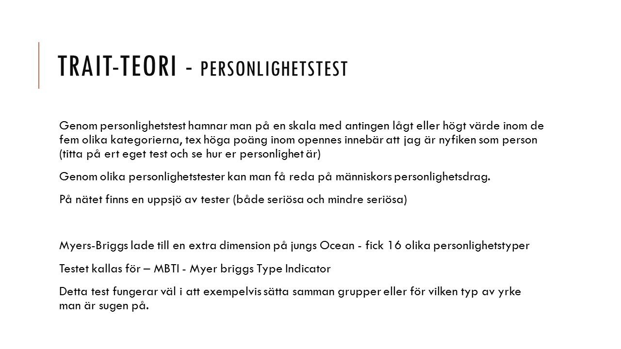 Trait-teori - personlighetstest