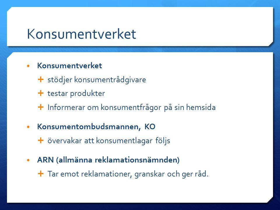 Konsumentverket Konsumentverket stödjer konsumentrådgivare