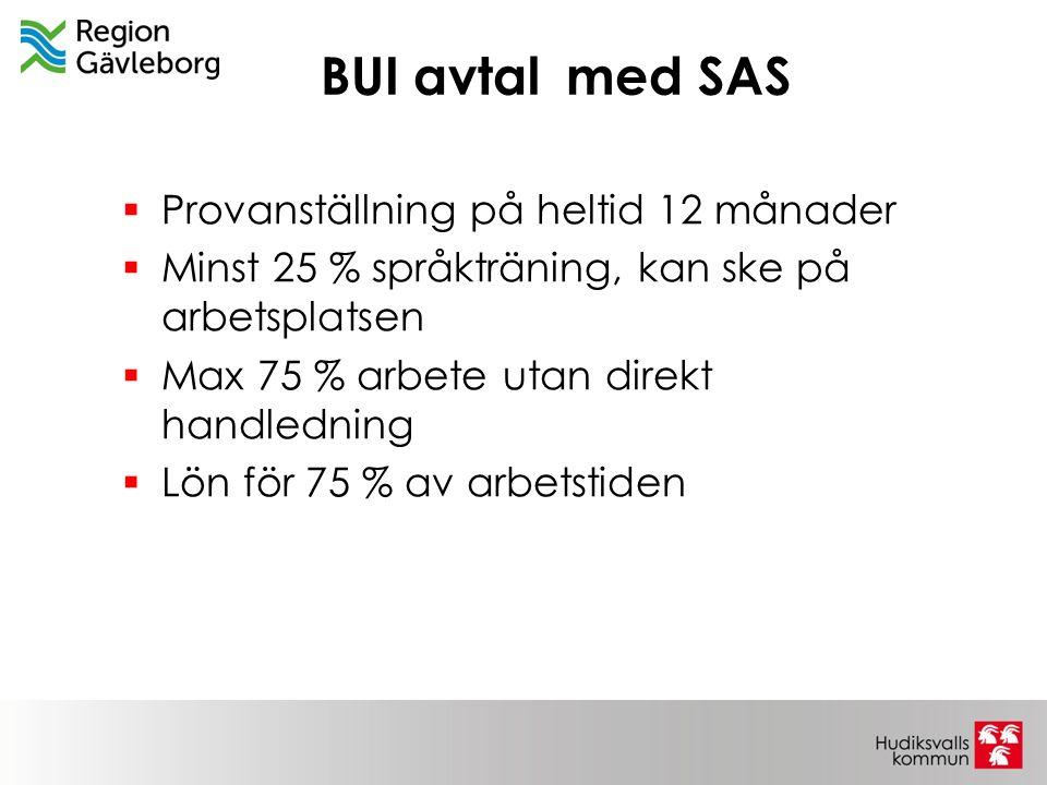 BUI avtal med SAS Provanställning på heltid 12 månader