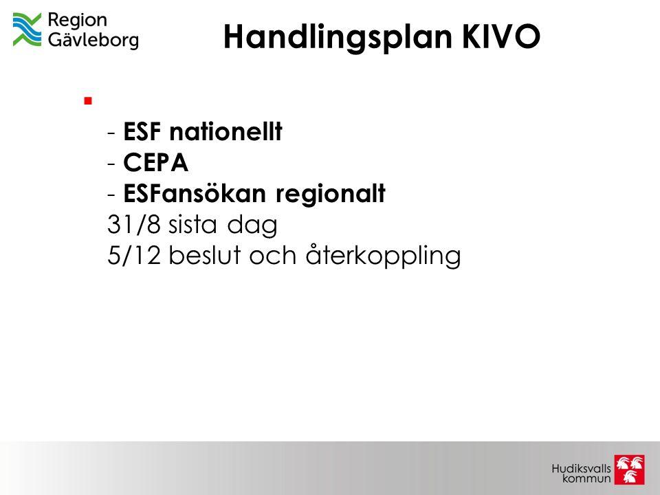 Handlingsplan KIVO - ESF nationellt - CEPA - ESFansökan regionalt 31/8 sista dag 5/12 beslut och återkoppling.