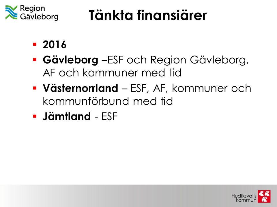 Tänkta finansiärer 2016. Gävleborg –ESF och Region Gävleborg, AF och kommuner med tid. Västernorrland – ESF, AF, kommuner och kommunförbund med tid.
