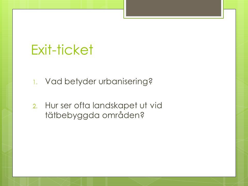 Exit-ticket Vad betyder urbanisering