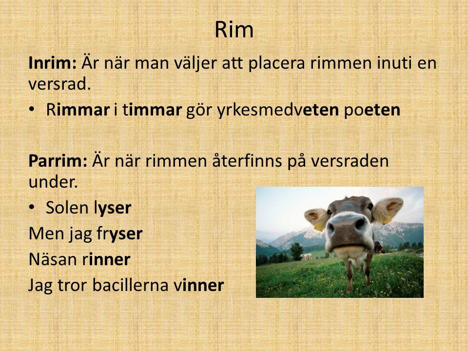 Rim Inrim: Är när man väljer att placera rimmen inuti en versrad.
