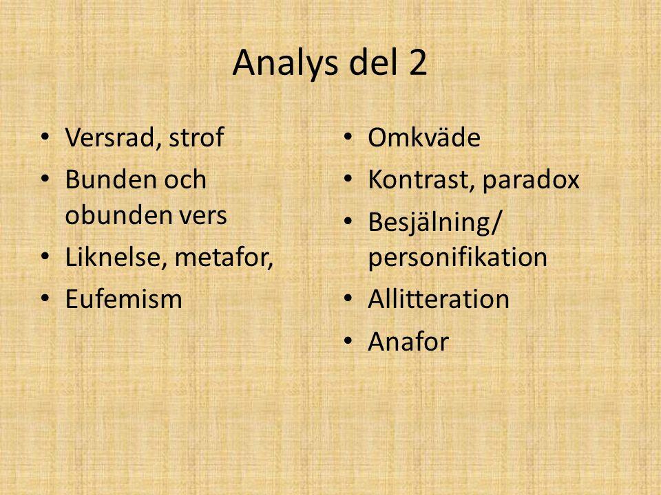 Analys del 2 Versrad, strof Bunden och obunden vers Liknelse, metafor,