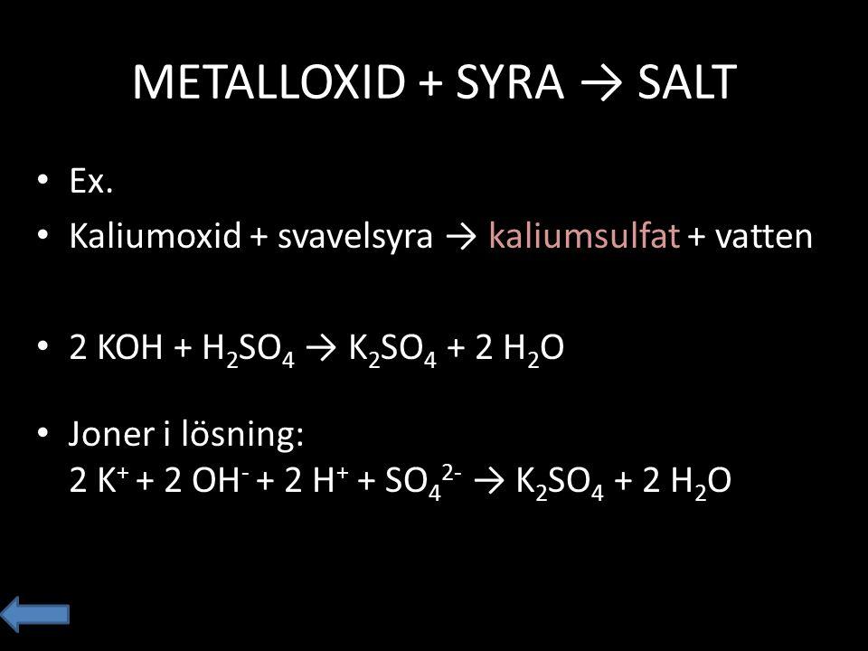 METALLOXID + SYRA → SALT