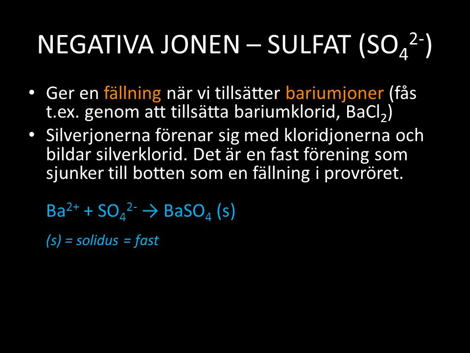 NEGATIVA JONEN – SULFAT (SO42-)