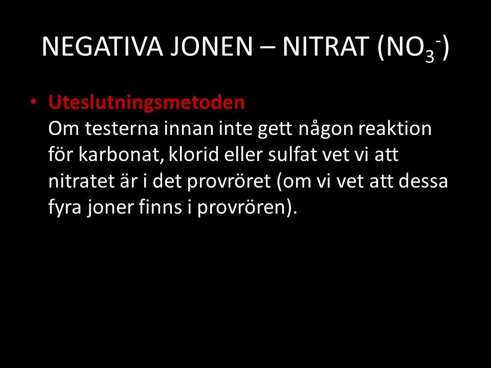NEGATIVA JONEN – NITRAT (NO3-)