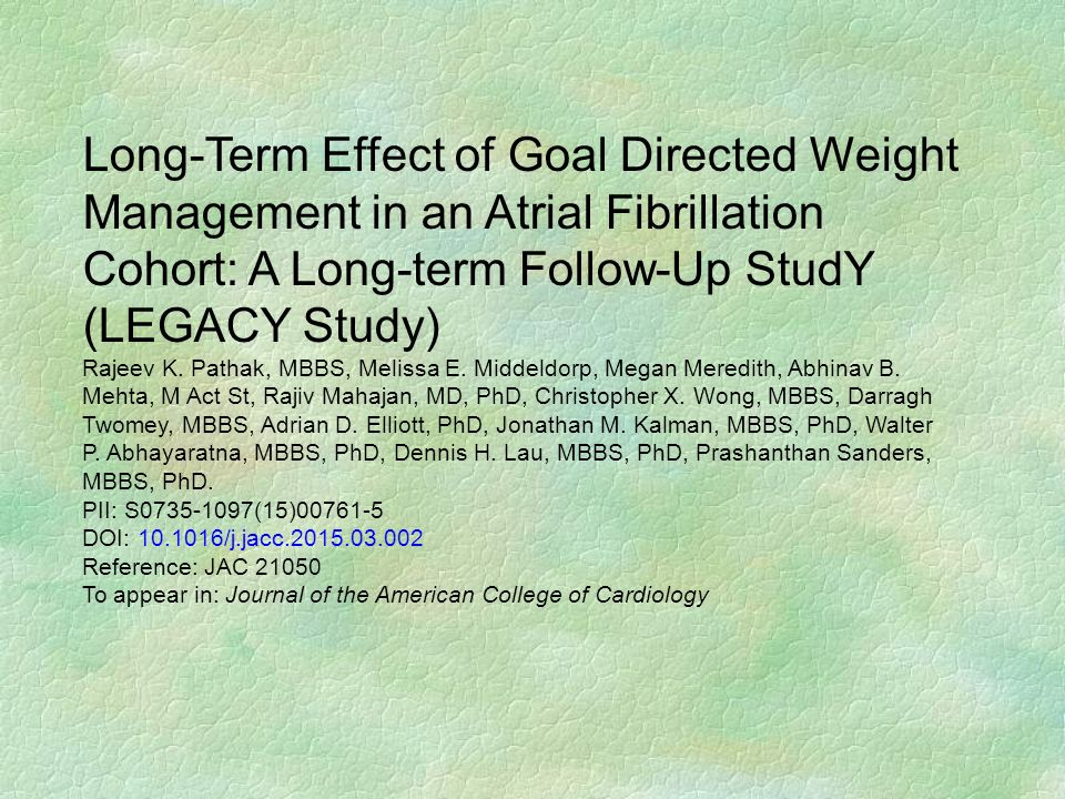 Cohort: A Long-term Follow-Up StudY (LEGACY Study)