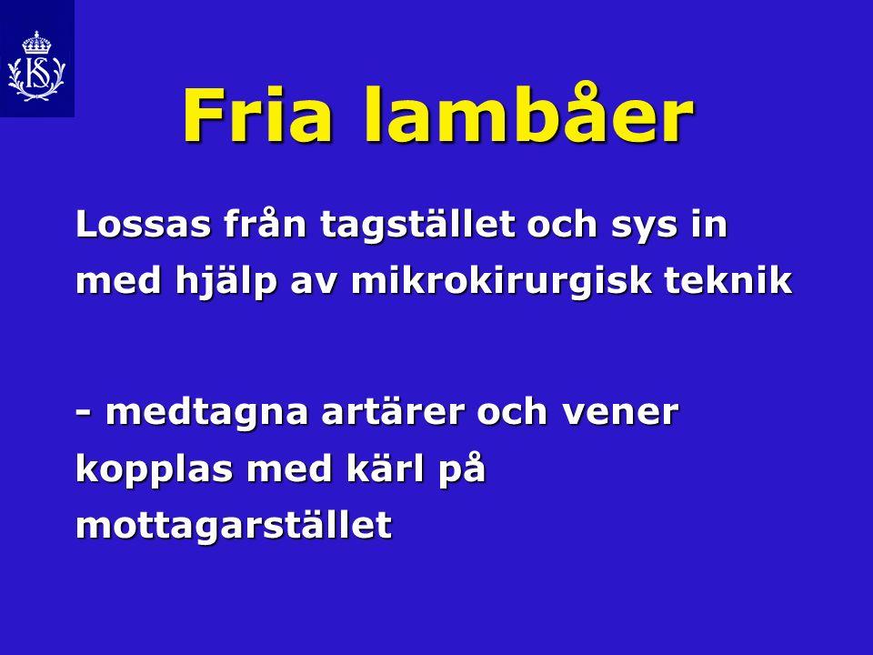 Fria lambåer Lossas från tagstället och sys in med hjälp av mikrokirurgisk teknik.