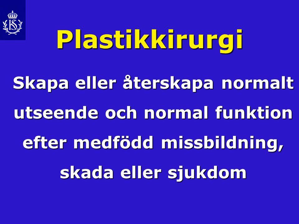 Plastikkirurgi Skapa eller återskapa normalt utseende och normal funktion efter medfödd missbildning, skada eller sjukdom.