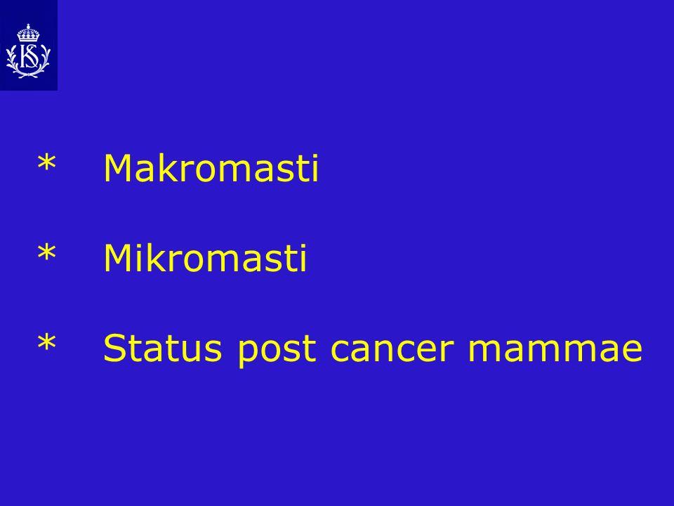* Makromasti * Mikromasti * Status post cancer mammae