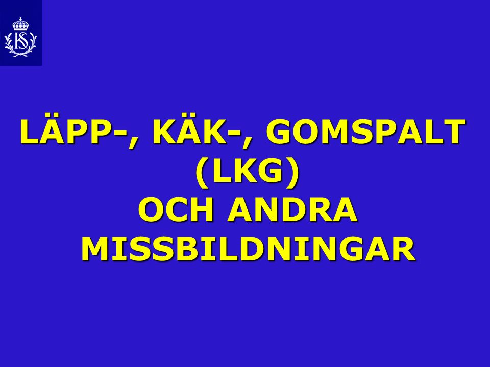 LÄPP-, KÄK-, GOMSPALT (LKG) OCH ANDRA MISSBILDNINGAR