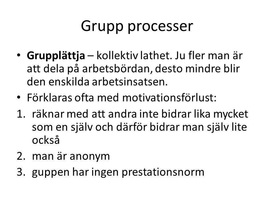 Grupp processer Grupplättja – kollektiv lathet. Ju fler man är att dela på arbetsbördan, desto mindre blir den enskilda arbetsinsatsen.