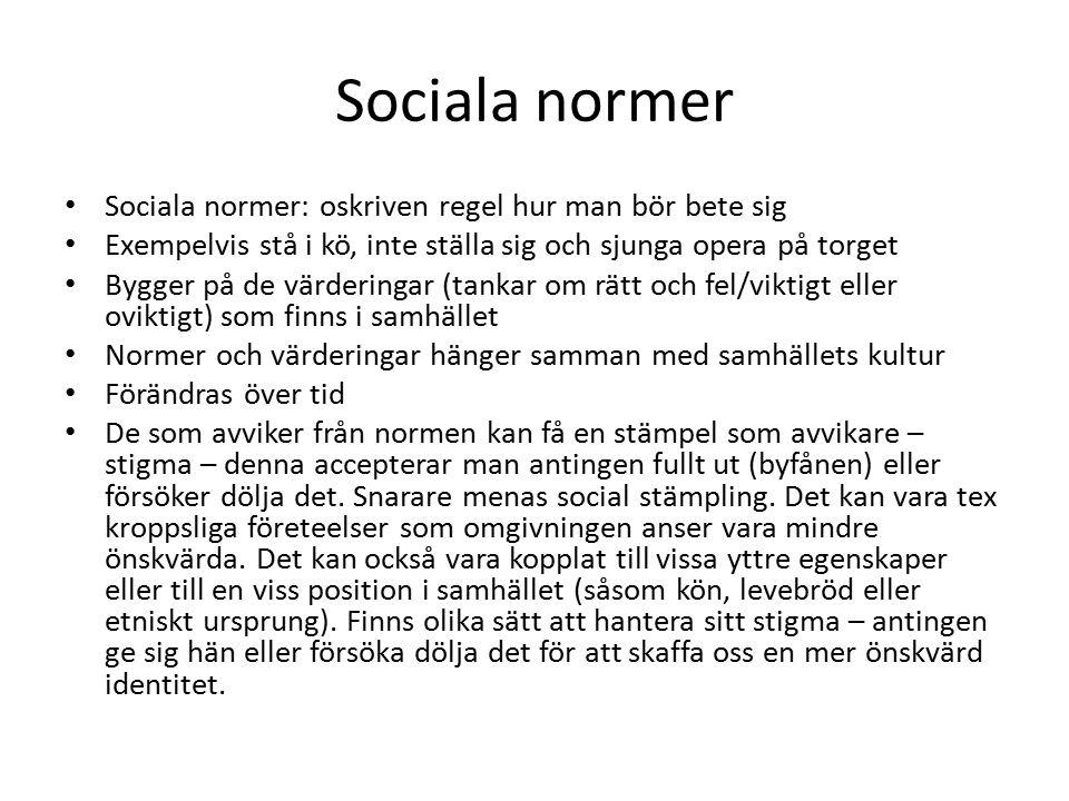 Sociala normer Sociala normer: oskriven regel hur man bör bete sig