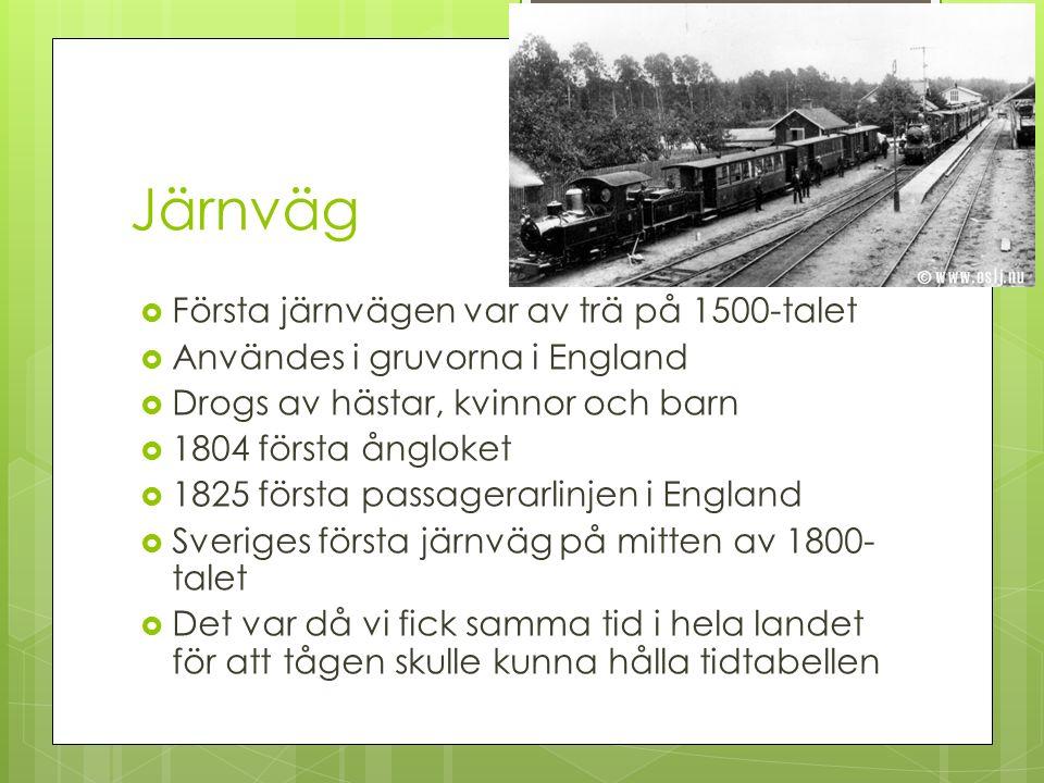 Järnväg Första järnvägen var av trä på 1500-talet