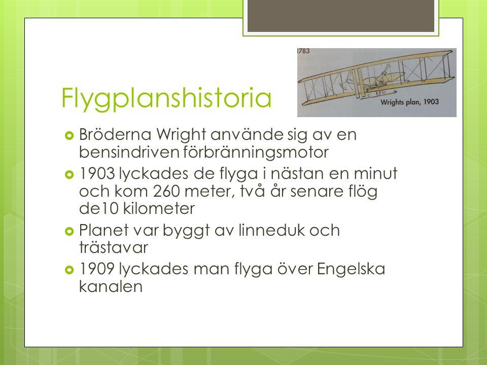 Flygplanshistoria Bröderna Wright använde sig av en bensindriven förbränningsmotor.