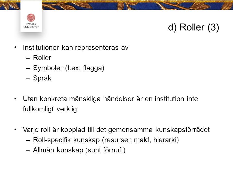 d) Roller (3) Institutioner kan representeras av Roller