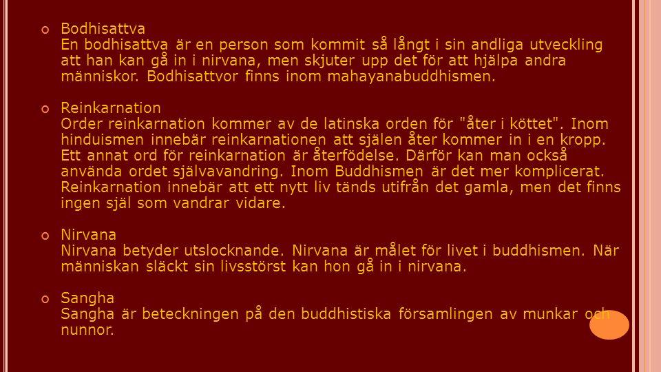 Bodhisattva En bodhisattva är en person som kommit så långt i sin andliga utveckling att han kan gå in i nirvana, men skjuter upp det för att hjälpa andra människor. Bodhisattvor finns inom mahayanabuddhismen.