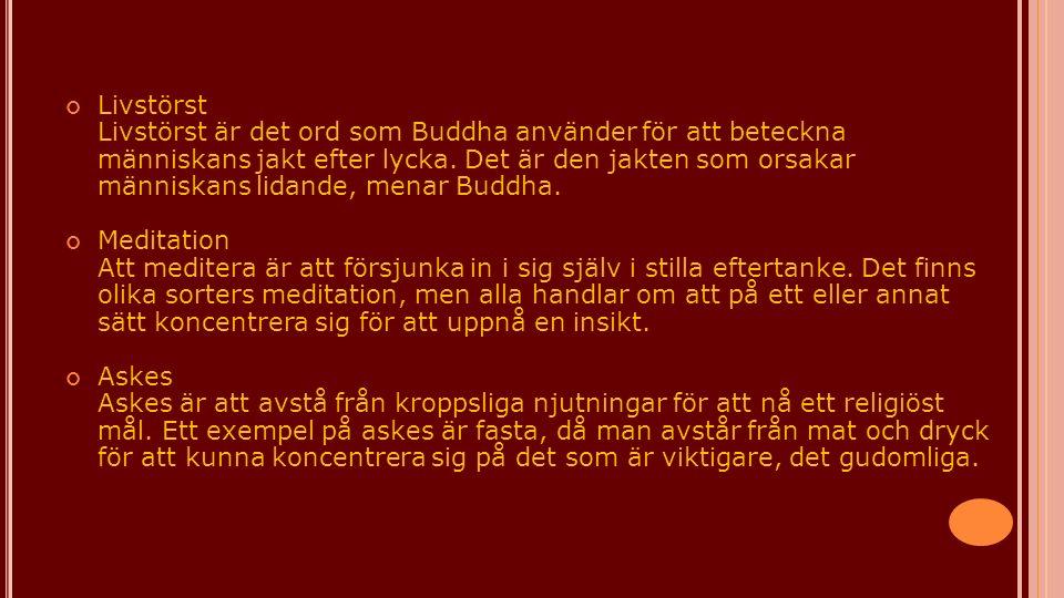Livstörst Livstörst är det ord som Buddha använder för att beteckna människans jakt efter lycka. Det är den jakten som orsakar människans lidande, menar Buddha.