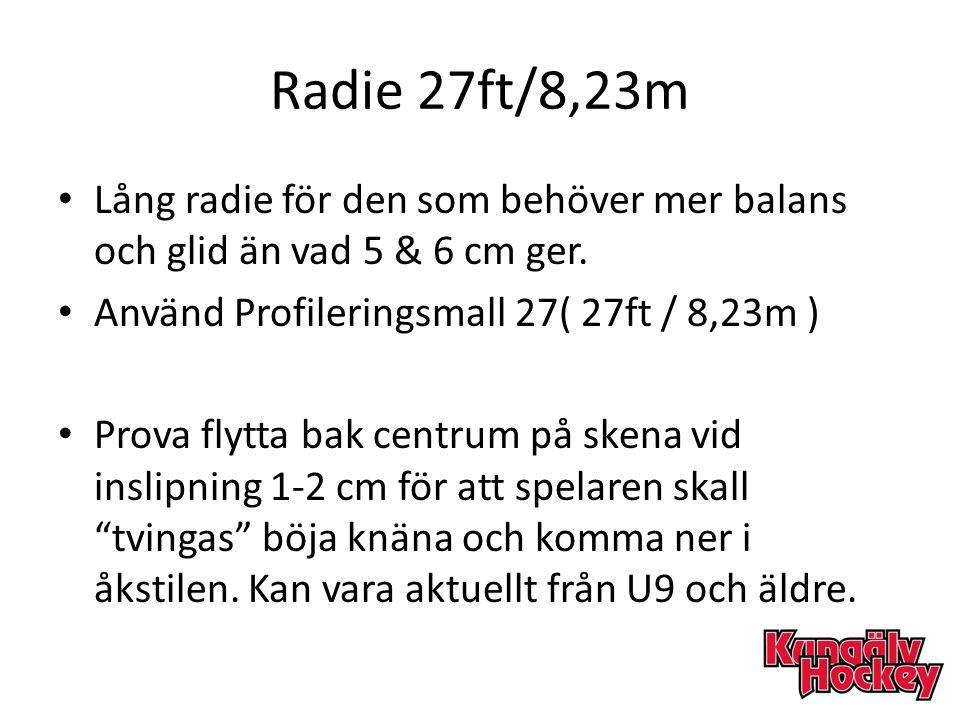 Radie 27ft/8,23m Lång radie för den som behöver mer balans och glid än vad 5 & 6 cm ger. Använd Profileringsmall 27( 27ft / 8,23m )