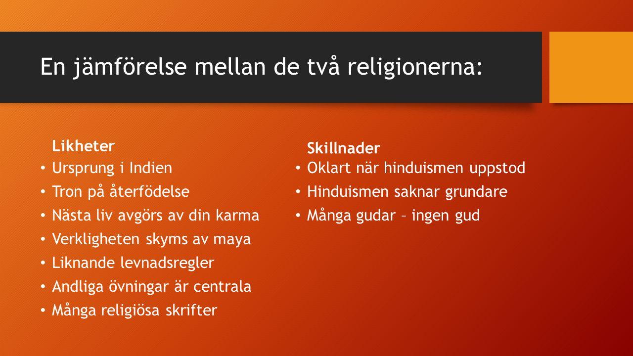 En jämförelse mellan de två religionerna: