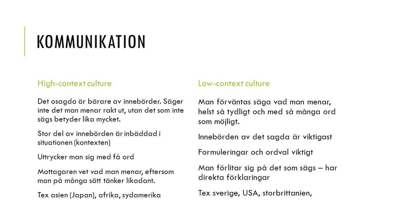 Kommunikation High-context culture Low-context culture