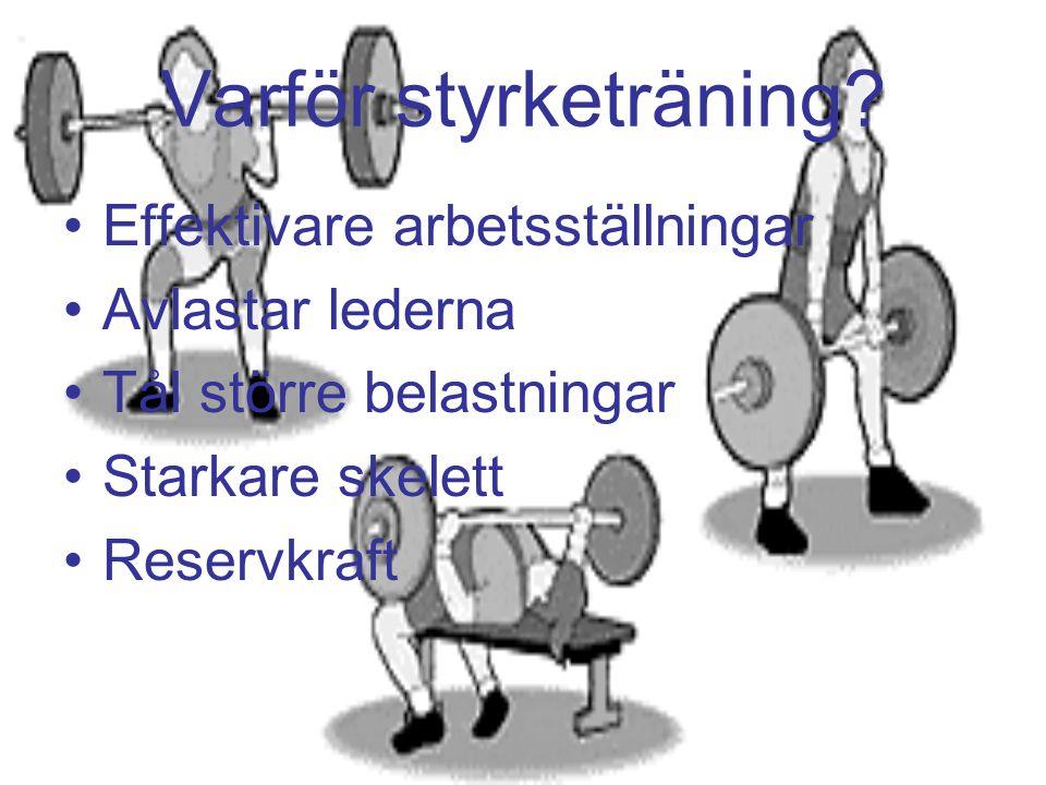 Varför styrketräning Effektivare arbetsställningar Avlastar lederna