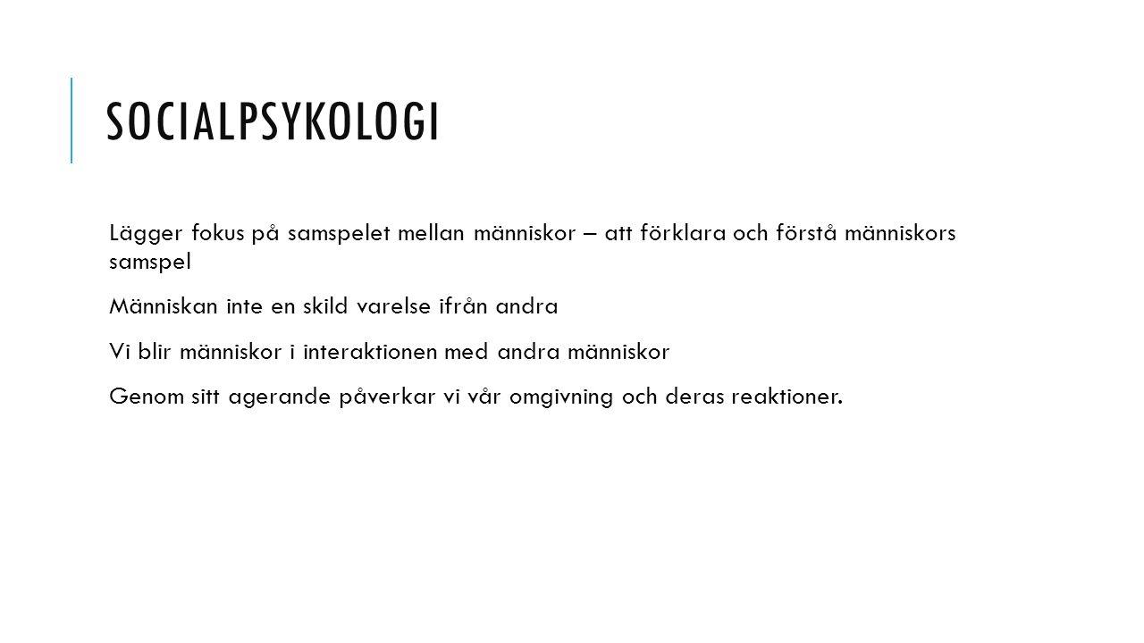 Socialpsykologi Lägger fokus på samspelet mellan människor – att förklara och förstå människors samspel.