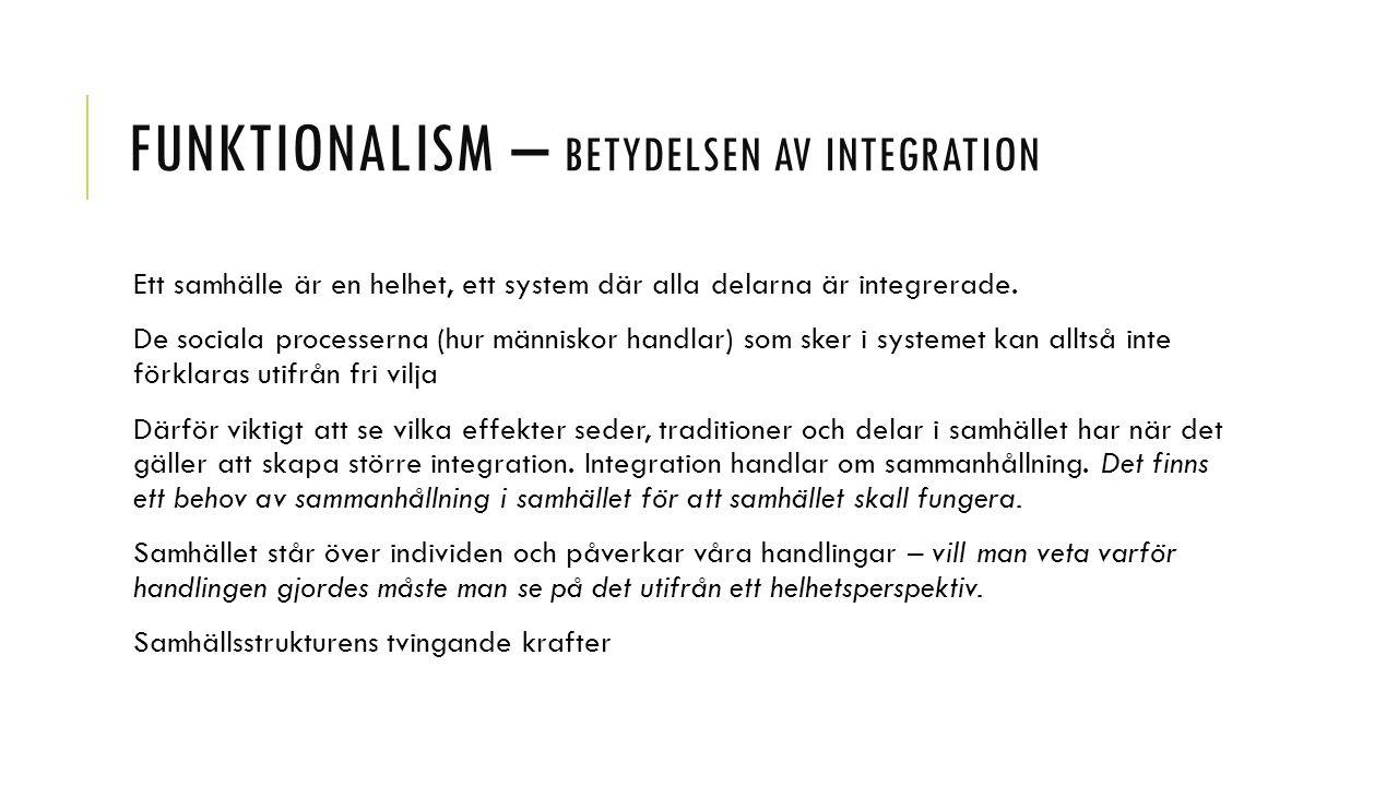 Funktionalism – betydelsen av integration
