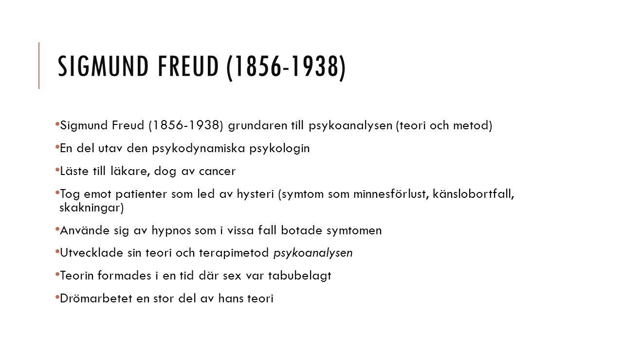 Sigmund Freud (1856-1938) Sigmund Freud (1856-1938) grundaren till psykoanalysen (teori och metod) En del utav den psykodynamiska psykologin.