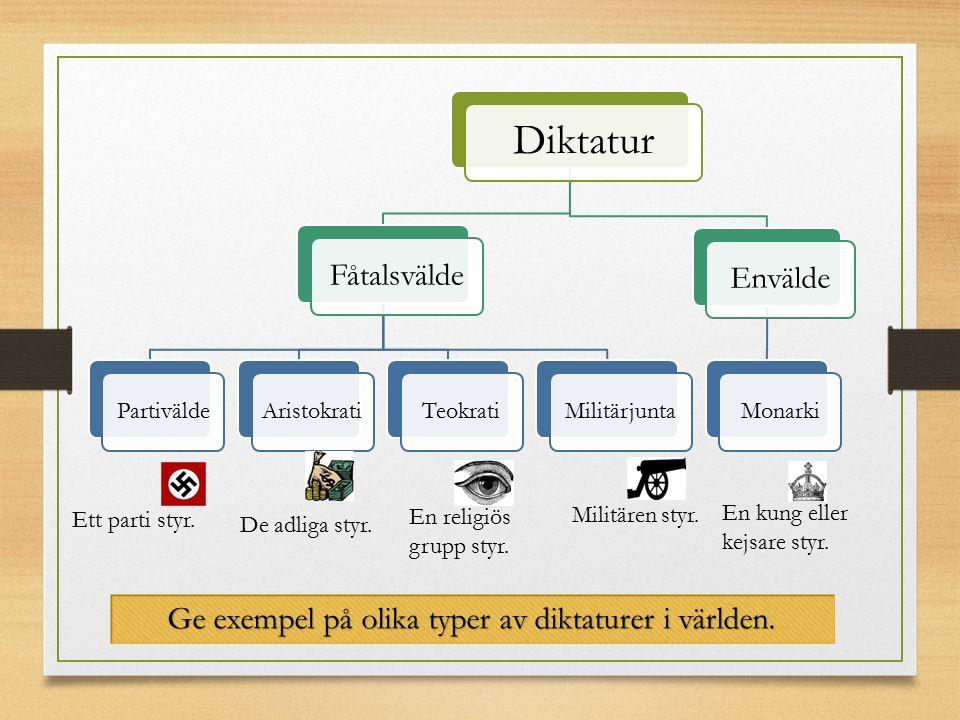 Ge exempel på olika typer av diktaturer i världen.