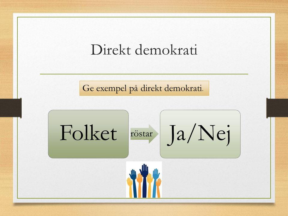 Direkt demokrati Folket Ja/Nej Ge exempel på direkt demokrati.