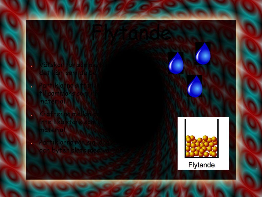 Flytande Vätskor tar samma form som det kärl som de befinner sig i.