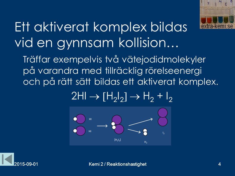 Ett aktiverat komplex bildas vid en gynnsam kollision…