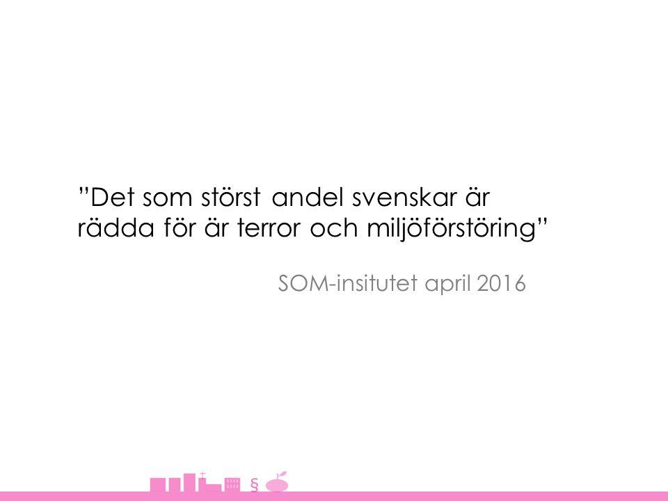 Det som störst andel svenskar är rädda för är terror och miljöförstöring