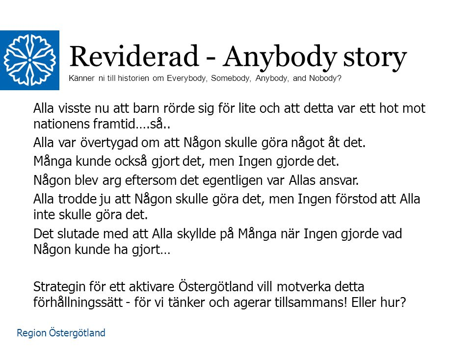 Reviderad - Anybody story Känner ni till historien om Everybody, Somebody, Anybody, and Nobody