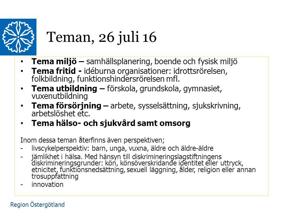 Teman, 26 juli 16 Tema miljö – samhällsplanering, boende och fysisk miljö.