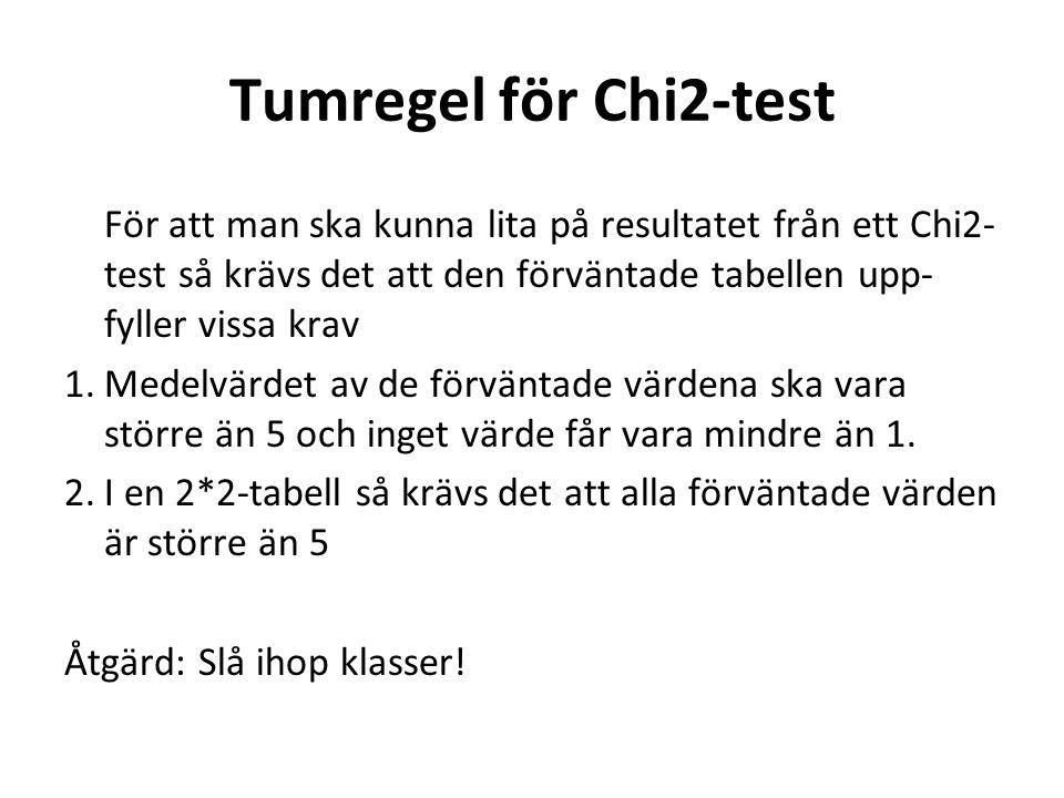 Tumregel för Chi2-test För att man ska kunna lita på resultatet från ett Chi2-test så krävs det att den förväntade tabellen upp-fyller vissa krav.