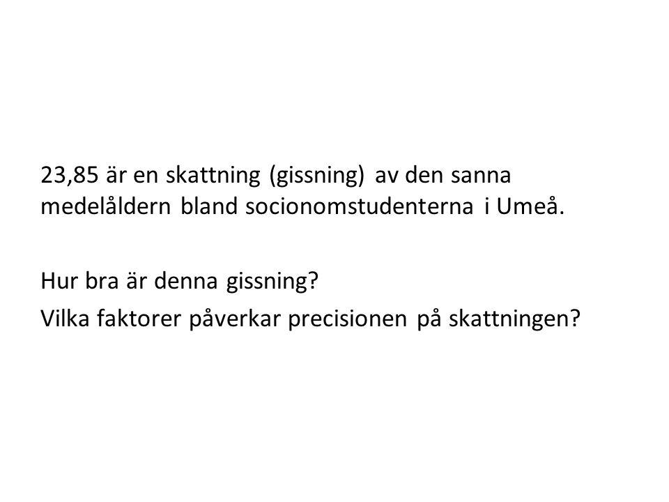 23,85 är en skattning (gissning) av den sanna medelåldern bland socionomstudenterna i Umeå.