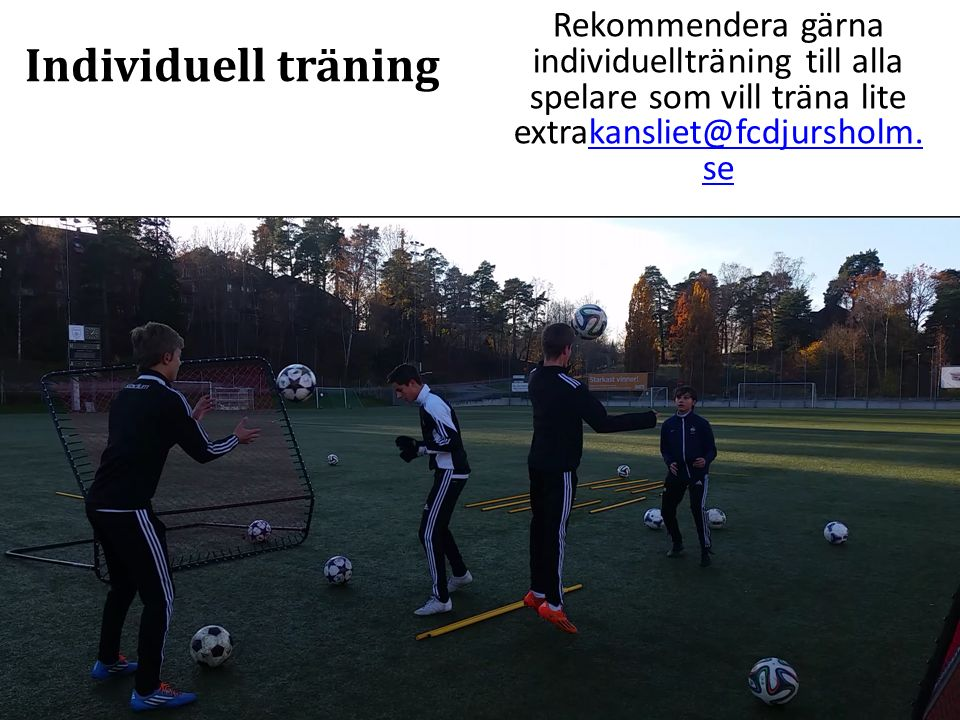 Individuell träning Rekommendera gärna individuellträning till alla spelare som vill träna lite extrakansliet@fcdjursholm.