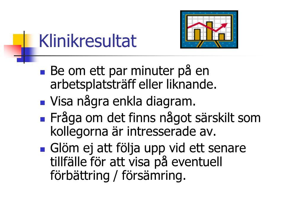 Klinikresultat Be om ett par minuter på en arbetsplatsträff eller liknande. Visa några enkla diagram.