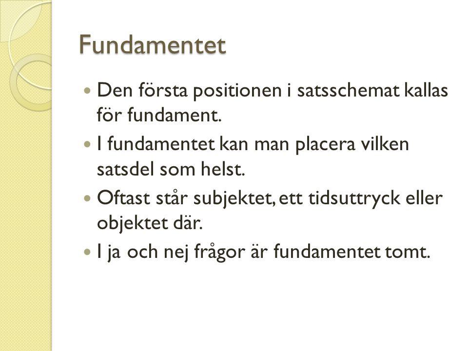 Fundamentet Den första positionen i satsschemat kallas för fundament.