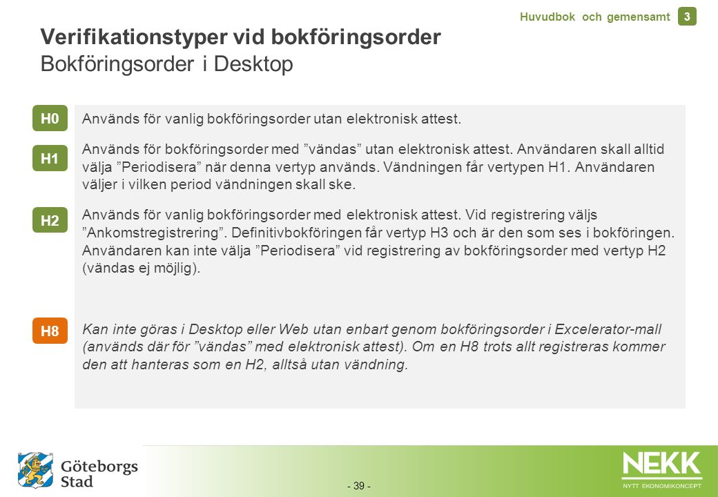 Verifikationstyper vid bokföringsorder Bokföringsorder i Desktop