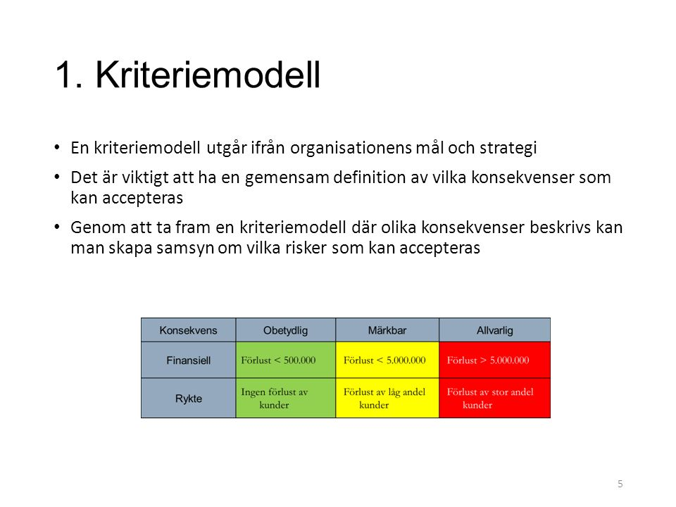 1. Kriteriemodell En kriteriemodell utgår ifrån organisationens mål och strategi.