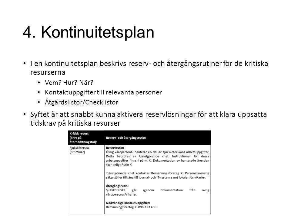 4. Kontinuitetsplan I en kontinuitetsplan beskrivs reserv- och återgångsrutiner för de kritiska resurserna.