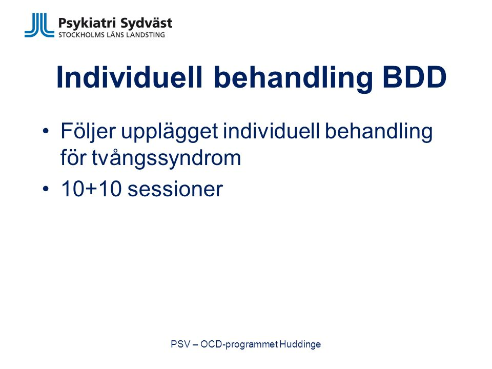 Individuell behandling BDD