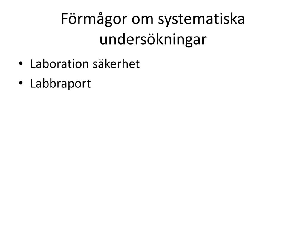 Förmågor om systematiska undersökningar