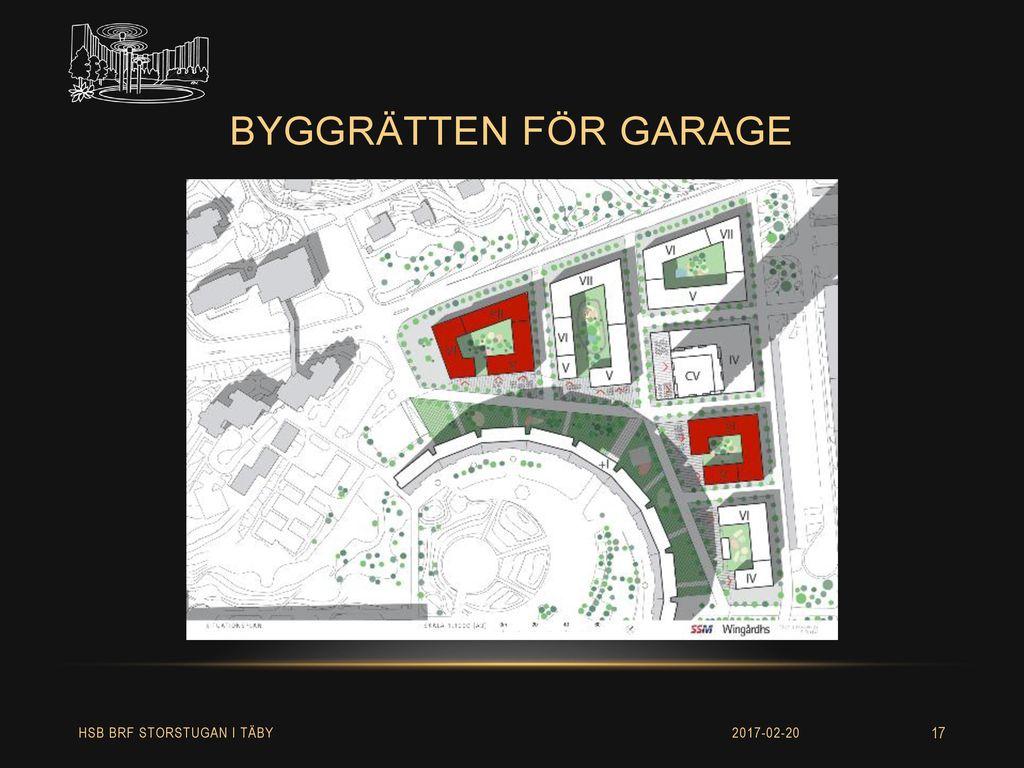 byggrätten för garage HSB BRF STORSTUGAN I TÄBY 2017-02-20