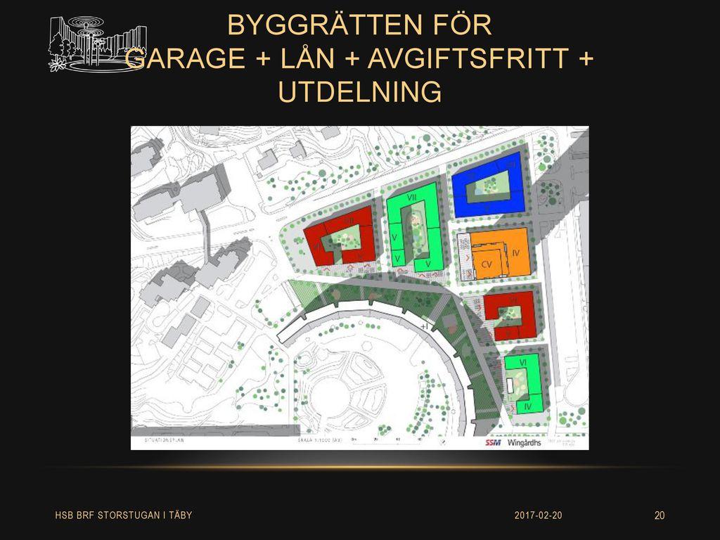 byggrätten för garage + lån + avgiftsfritt + utdelning
