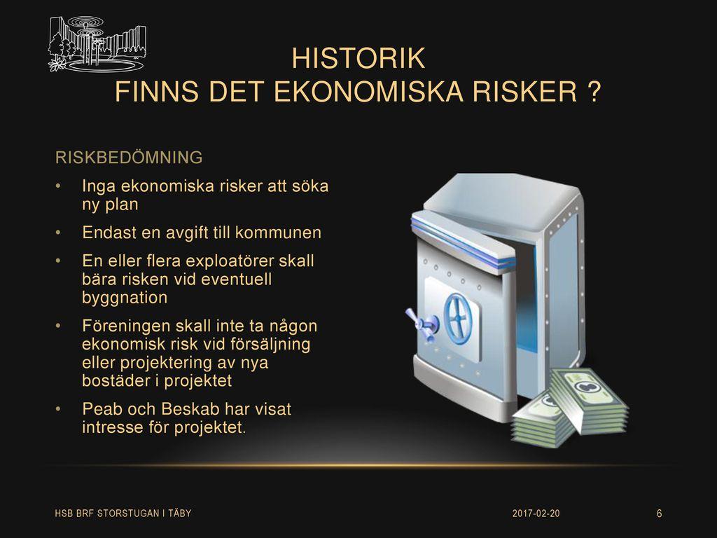 historik finns det ekonomiska risker